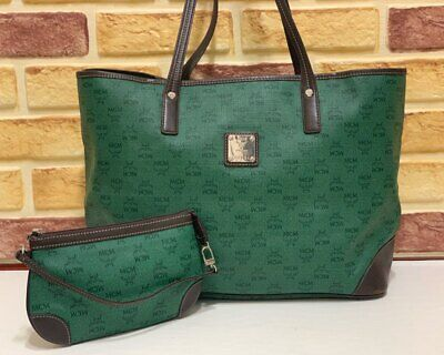 100% Authentic MCM Green Canvas Shoulder Bag With Pouch