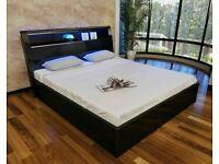 🤩👑HUGE SALE HUGE STORAGE WOODEN BEDS WITH LIGHTS & USB CHARGING PORT SINGLE DOUBLE KING