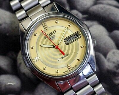 SEIKO 5 AUTOMATIC CAL.7019 MEN'S JAPAN REFURBISHED USED OLD VINTAGE WATCH 162724