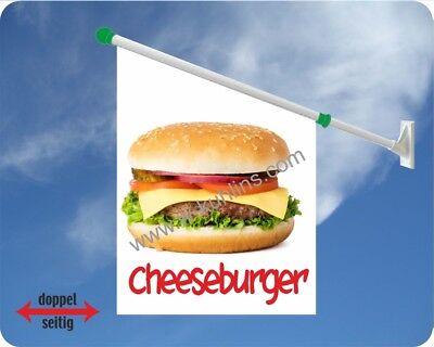 Flagge, Burger, Cheeseburger, Hamburger, Imbiss, Käse Burger, Werbefahnen, Kiosk