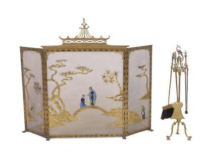 19th Cent LOUIS XV/XVI French Chinoiserie Fireplace Screen & Tools SUBMIT