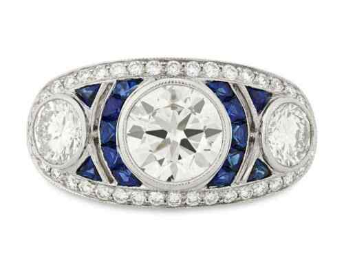 French Art Deco Inspired Old Mine Cut Cubic Zirconia & Blue Sapphire Women Ring