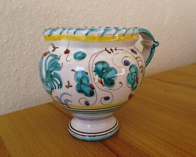 Deruta Italien Grüner Hahn, Gallo verde – Keramik Krug H 11 cm, signiert  Italien Hahn