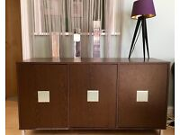 Stylish teak effect sideboard with chrome detail
