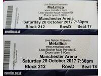 2 Metallica tickets 28. October. 2017 Manchester Arena