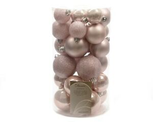 30 Luxury Shatterproof Christmas Baubles Decorations - Blush Pink - 340596