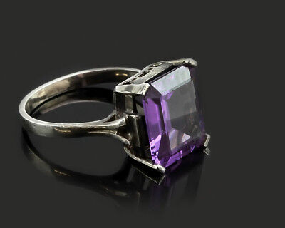 Sterling Silver Rose Cut Amethyst Clear CZ Mesh Design Ring #E