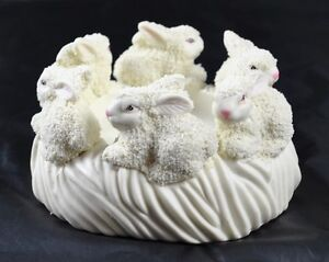 Vintage-Off-White-Textured-6-Bunny-Pillar-Candle-Holder-Round-Original-Box