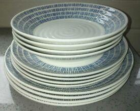 New Churchill Queens Sieni Dashie 12 piece bowls side plate & dinner plate set