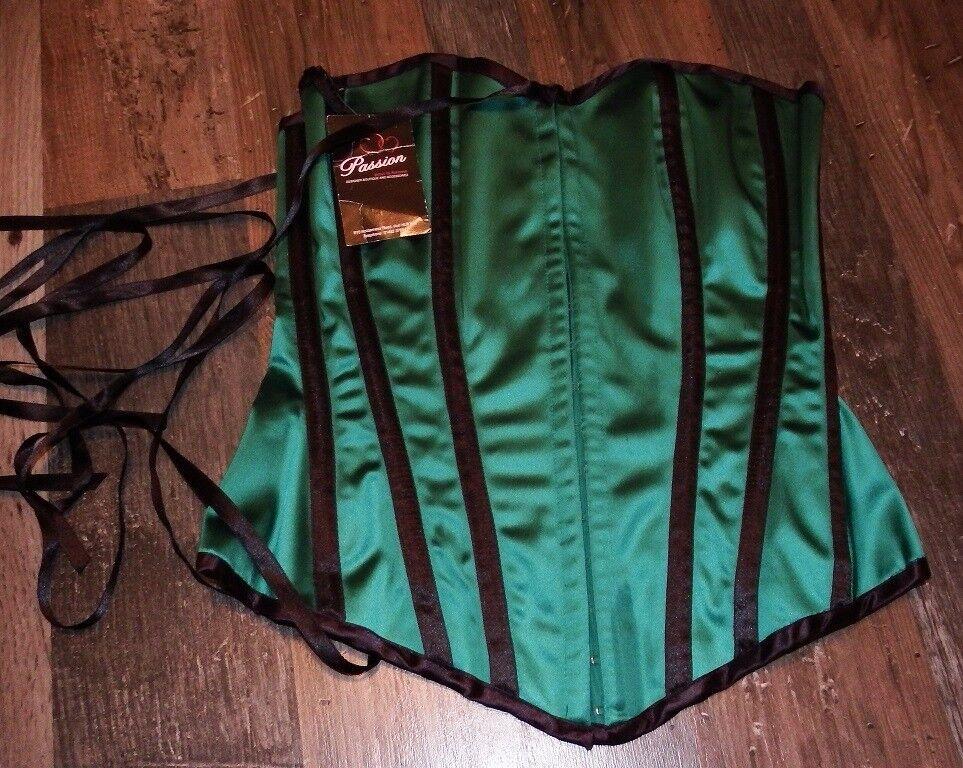 Emerald Green With Black Trim Diva Corset Size L - RRP £130