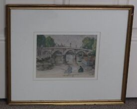 Paper paint with Maurice Utrillo sign on it professionally framed