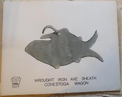 4 RARE WPA CONESTOGA WAGON Jack,TOOL BOX,HARDWARE,AXE SHEATH LITHOGRAPHS, for sale  Reading
