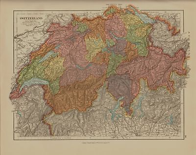EDWARD STANFORD MAP  1920 . SWITZERLAND