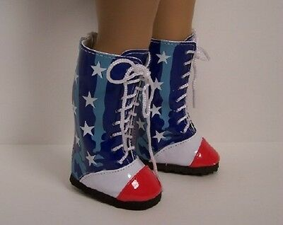 RED WHITE BLUE Star Flag Knee Boots Doll Shoes For 18