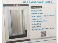 New Bifold Frameless glass shower doors 800 x 1870mm