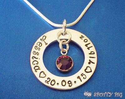 Personalisiert Halskette Hand Stempel Baby Geburt Name Geschenk Taufe Mutter