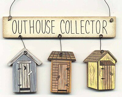 "OUTHOUSE COLLECTOR 5.25x3.5"" wood banner Outhouses primitive bathroom decor sign"
