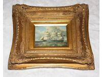 Gild framed paint picture of the sailing ship. House clearance sale!