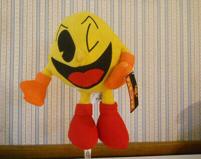 """Pac Man 11"""" plush stuffed Winking with TAGS Toy Factory Namco Limited Bandai"""