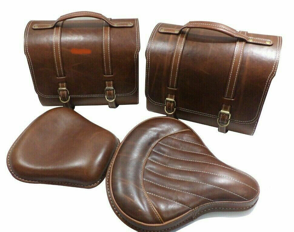 Brown Leather Saddle Bag Front Rear Seat For Royal Enfield C