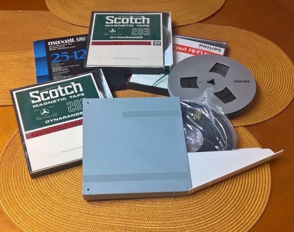 Magnet-Tonbänder-18-cm-3M, Agfa und Scotch usw. in Plastikhülle / Papphülle