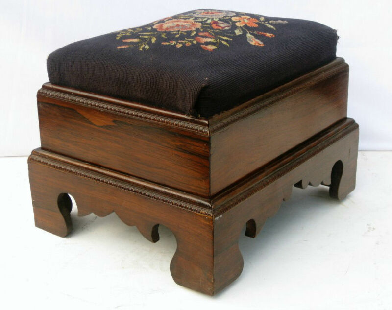 American Empire Rosewood Footrest with Original Needlepoint, Circa 1860s