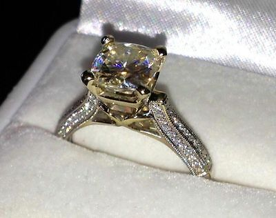 Real 14kt Solid White gold 2.55 ct Moissanite Round Anniversary Engagement Ring