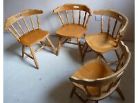 4 x Solid Pine Country Cottage Chairs with Hand hold in back rest