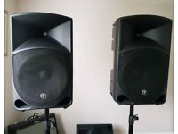 Pair of Mackie, Thump 15 1000w active PA system speakers.