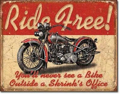 Ride Free Motorcycle Funny Metal Sign Harley Picture Garage Man Cave Bar Gift