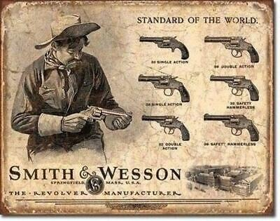 Vintage Smith/&Wesson Revolver Models Metal Sign US Made 2nd Amendment Wall Decor