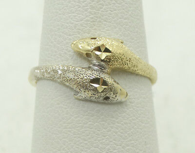 (Sharp 14K yellow & White Gold Brushed Double Dolphin Ring Size 7 A8966)