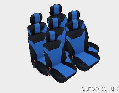 FULL SET  BLUE 7X FABRIC SEAT COVERS FOR 7 SEATER CAR MPV (1998 Mazda Mpv Van)