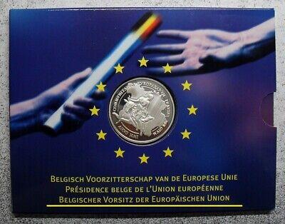 Belgie 500 frank 2001, voorzitterschap EU, QP in mapje, zilver .925