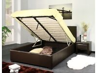 Brand New 4ft6 Double Leather Ottoman Storage Gas Lift Bed Frame with Semi Orthopaedic Mattress