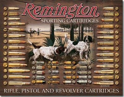 Remington Hunting Dogs Cartridges Bullets Shells Rifles/Pistols Tin Metal Sign