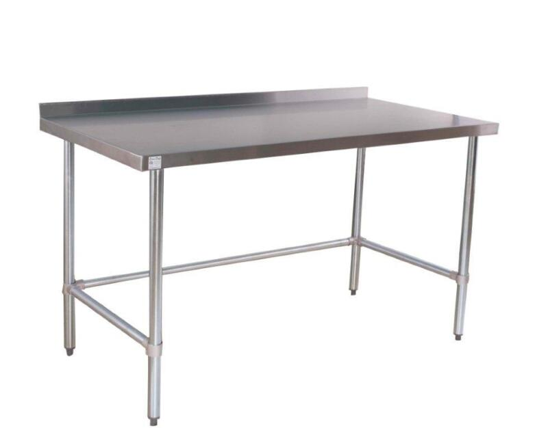 """30"""" x 60"""" Open Base All Stainless Table with Back Splash"""