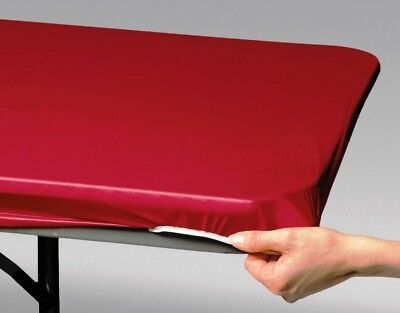 Stay Put Table Covers (12 RED STAY-PUT 8 FT X 30 IN  FITTED PLASTIC TABLECLOTHS TABLE COVERS ~ 40%)
