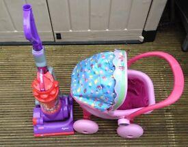 8. CHILDS TOY DYSON VACUUM CLEANER & PEPPER PIG PRAM & TIME TEACHING CLOCK & V-TECH BABY WALKER