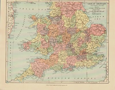 EDWARD STANFORD MAP  1920 .G. BRITAIN SOUTHERN SECTION