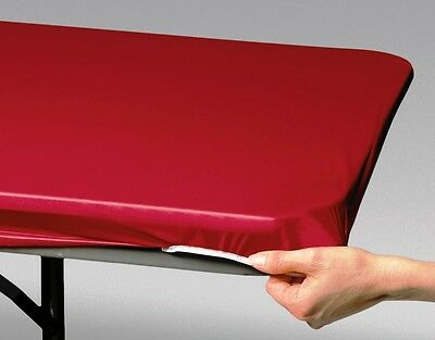 12 RED FAST COVER 8 FT.FITTED PLASTIC TABLECLOTHS TABLE COVER SAVE 50%! PICNIC](8 Ft Plastic Table)