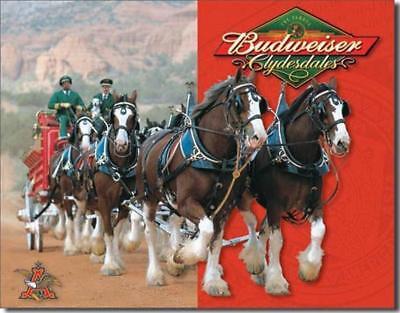 Budweiser Anheuser Busch Clydesdales Team Wagon Beer Bar Tin Metal Sign