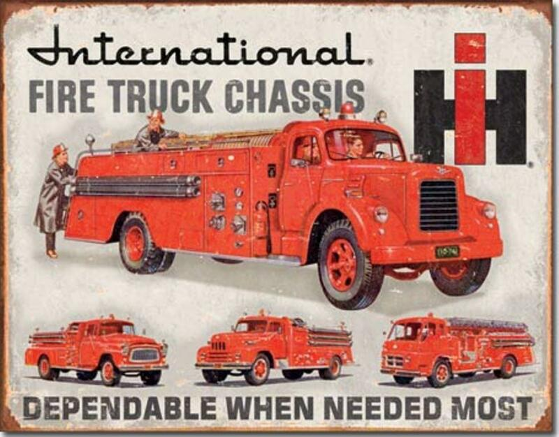 International Harvester IH Fire Truck Engine Chassis Tin Metal Sign Made In USA