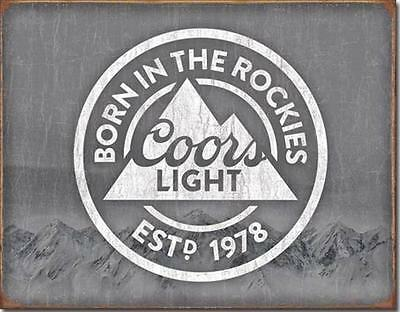 Coors Light Beer Born In The Rockies Rocky Mountains Tin Metal Bar Sign NEW