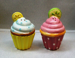 Details about LEMON & LIME CUPCAKES SALT & PEPPER SHAKERS WG D5