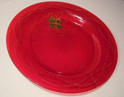 Large Ruby Red Serving Bowl/Centerpiece Dish w/Gold Four Leaf Clover Design