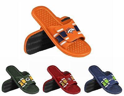 NFL Team Logo 2015 Mens Stripe Shower Slide Flip Flops - Pick Team