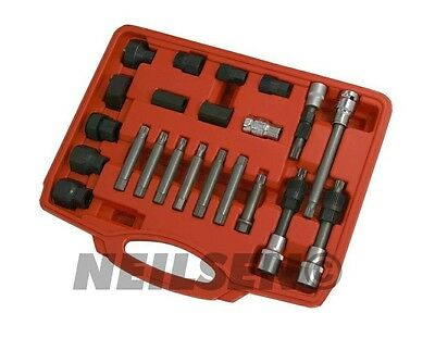 22 Pc Alternator Freewheel Pulley Removal Socket Bit Set Garage Service Tool Kit