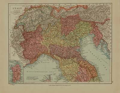 EDWARD STANFORD MAP  1920 . ITALY
