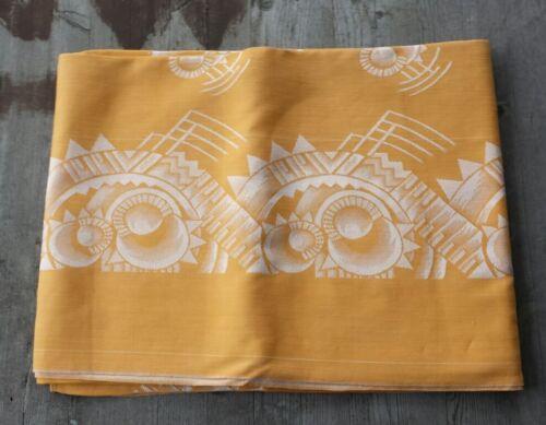 Stunning Vintage Belgian Art Deco Linen Tablecloth – Orange with Metallic Silver